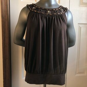 Brown Michael Kors Beaded Tank Summer Beach